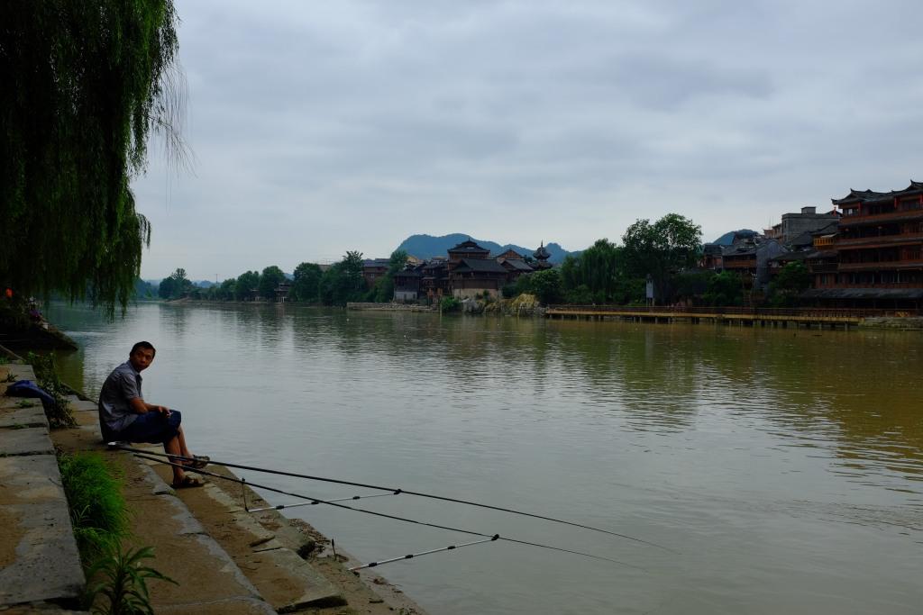 Angeln am Fluss.