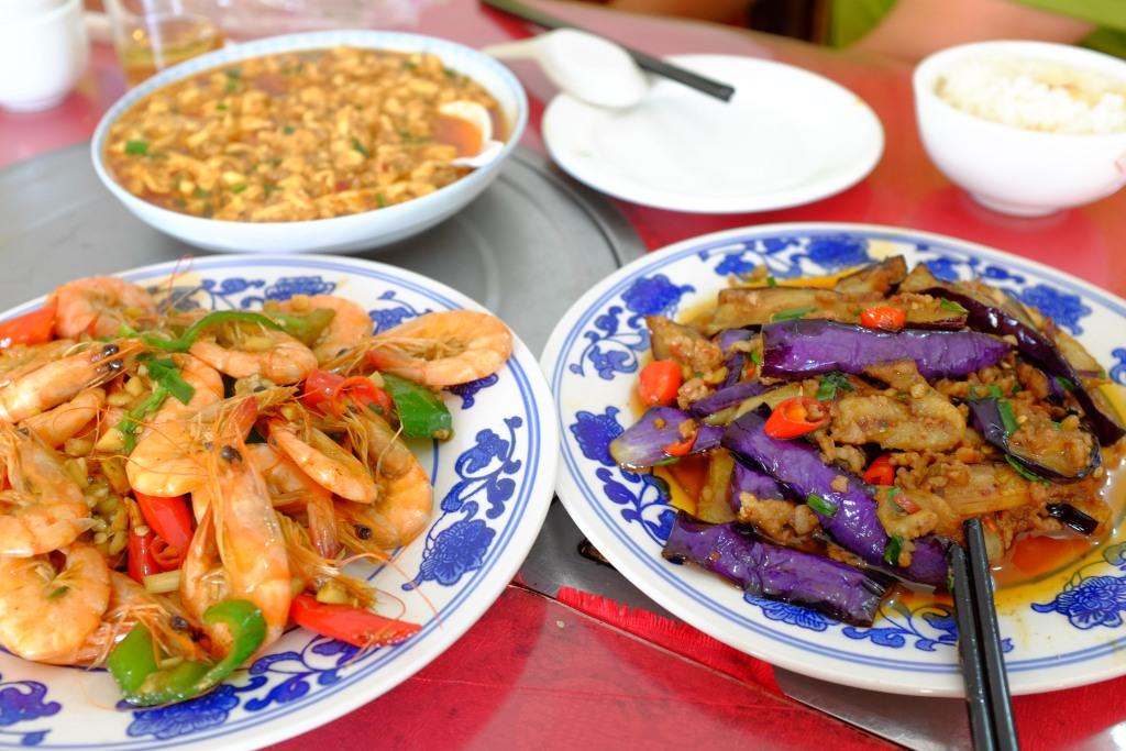 Shrimps, Tofu und Aubergine