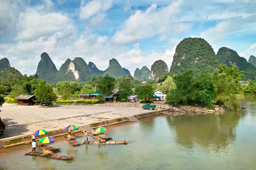 Perfekte Karstlandschaften in Yangshuo.